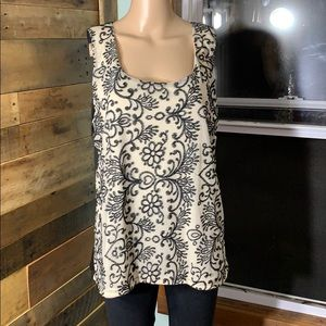 Maurices Black Floral Pattern on Cream Tank Top XL